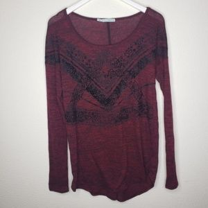 Maurices's Oxblood Maroon Red Black Sweater